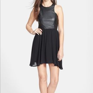 Black faux leather mini dress